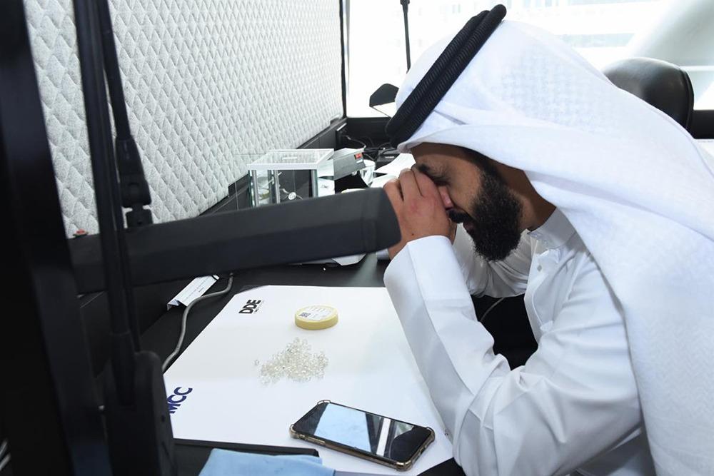 DMCC Executive Chairman Ahmed Bin Sulayem in the rough tender hall at the Dubai Diamond